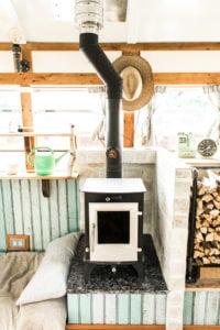 tiny wood stove bus conversion